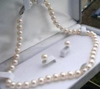 Wholesale 8mm south sea pearls - 7-8mm south sea Natural White Pearl Necklace Earrings Set 18inch 925 silver clasp