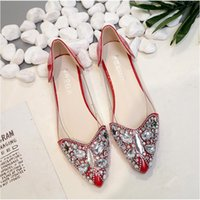 Women Flats 2017 New Fashion Rhinestone Bow Pointed Flat Shoes Mulheres Sapatos Transparente Diamond Women Flats Frete grátis