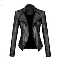 kızlar deri motosiklet ceketleri toptan satış-Toptan-2017 Yeni Motosiklet Deri Ceket Kadın Deri Ceket Giyim Bahar Bayanlar Ceketler Mont Kız Ceket Kaban