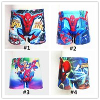 Wholesale Spiderman Trunks - 2017 New Style Spiderman Boxers Kid Boy Surfer Sports Swim Underwear Kids Boys Swim Beach Board Trunks for 2-9 Years Boys DHL Free
