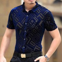 Wholesale Silk Sexy Breast Transparent - Top Fashion Mens See Through Shirts Male Casual Short Sleeve Transparent Sexy Silk Shirts Soft Slim Thin Black Blue Size M-3XL