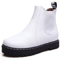 Wholesale Rubber Water Boots For Women - Wholesale- NEW Students shoes Women boots Ankle Flat boots PU Leather shoes Fashion Sexy Elegant Design for women Water Slip-On ZT272