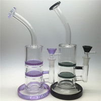 "Wholesale Double Necked - Glass Bong water pipe dab rig oil rigs double honeycomb perc purple black 10"" heady pipes bongs heady Beaker bubbler jet bent Neck"