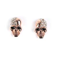 Wholesale Silver Skull Earrings Women - 2017 punk skull stud earrings for women Jewelry Fashion club Halloween delicate gem ornament crystal skeleton earrings Free shipping gift