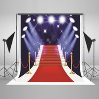 Wholesale 5x7ft Digital Printing Photography Background Red Carpet Stairs Background White Lights Glitter Photo Studio for Wedding Backdrop