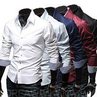 Wholesale Large Size Korean Dresses - Free Shipping High quality men's shirt Korean version of the fashion package large size men's long sleeves Dress Shirts