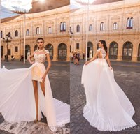 Wholesale High Low Skirts Chiffon - 2018 Short Beach Wedding Dresses with Detachable Chiffon Skirt Sheer Neck Lace Appliqued High Low Bridal Gowns