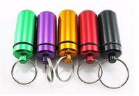 Wholesale Waterproof Pill Cases - Hot Key Holder Aluminum Waterproof Pill Shaped Mini Box Small Bottle Holder Container Keychain Keyring Keychain Metal Box Pill Case