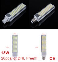 Wholesale E27 Led Corn Natural White - 13W 5050 SMD 52 LEDs E27 G24 G23 led bulb pl lamp Warm White Natural White Cold White AC110-240V 1300lumes by Fedex DHL 20pcs lot