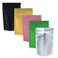 "Wholesale Wholesale Black Ziplock Foil Bags - 8.5x13cm (3.3x5.1"") Gold Pink Green Black colors tear notch Metallic Mylar zip lock aluminum foil stand up ziplock packaging bag"