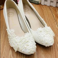Wholesale Iris Dress - Pearl bridesmaid lace manual iris low heel shoes accessories show The bride wedding studio photographed nude shoes