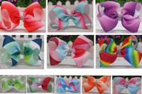 """Wholesale Large Barrettes Colors - 16 colors available ! 6"""" Large Ombre Rhinestone Hair Bow With Clip Girl Dance HairPin Boutique Hair Accessories For Kids 20pcs"""