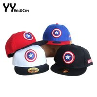 Wholesale captain baseball cap - Spring Summer Snapback Caps kids Baseball Cap Marvel's The Avengers American Captain Adjustable Bone Snapback Casquette Hat
