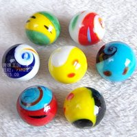 Wholesale Marble Beads Wholesale - Free shipping 7pcs lot 25mm tai chi design marbles jump chess pieces Water clusters box decorative glass beads glass marbles