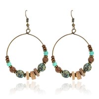 Wholesale Ancient Gold Beads - Bohemia Big Circle Drop Earrings Wooden Beads Stone Ancient Gold Dangle Earrings For Women Vintage Boho Jewelry Gift