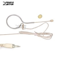 drahtgebundenes drahtloses headset groihandel-Flesh Color Wired Single Earhook Headset Mikrofon 3,5 mm Schraubanschluss Kondensatormikrofon Mike Für UHF Wireless System BodyPack Transmitter