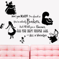 Wholesale character wall clocks - KW31714 Alice in Wonderland Rabbit Cat Clock Wall Vinyl Sticker Decal Home Decor Removable Wall Art Murals Paper