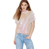 Wholesale Ladies Sequin Shirts - 2017 New Fashion T-shirt Women Casual Short Sleeve Solid Pink Sequined Lady Top O-neck Loose Streetwear Summer Tees