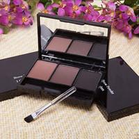 Wholesale Cosmetics Uk - Wholesale-Pro 3Color Eyebrow Powder Palette Cosmetic Shading Brush Mirror Box Brow Kit Set AU US UK RUS Wholesale