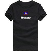 Wholesale Red Flag Soccer - Belize T shirt Soccer sport short sleeve Player mission tees Nation flag clothing Unisex cotton Tshirt