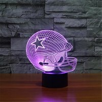 2017 New Design 3D Dallas Cowboys Rugby Capacete Night Light LED colorido Remote Touch LED Dayside Lamp Gift