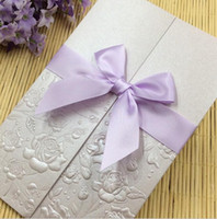 Wholesale Lavender Flower Wedding Invitations - New Elegant Flower Wedding Invitation Cards Personalized Wedding Party Printable Fold Invitation Cards with Bowknot Ribbon Free Shipping
