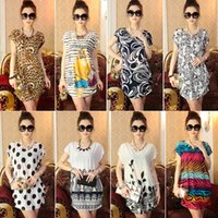 Wholesale Soft Loose Dresses - New Arrival Plus Size Soft Dresses Summer Short Sleeve Viscose Loose Dress European Bohemia National Style Floral Printed Dresses Gifts