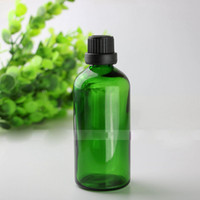 Wholesale Glass Bottles For Liquid Cosmetics - E Liquid E Juice Green Glass Bottles 100ml BIg Glass Bottle 100 ml with Thin Tip BIg Head Lids For Cosmetic Make Up Oil