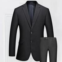 Wholesale Mens Dress Set - Wholesale- Mens Slim Fit Two Buttons Business Suits Quality Fashion Suits Male Casual Suits Set Bridegroom Wedding Dress Suit Black FS-097