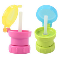 Wholesale Water Bottles For Children - Wholesale- Child Safe Drink Straw Portable Spill Proof Juice Soda Water Bottle Twist Cover Cap With straw Sippy Cap Feeding for Kids Infant