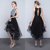Wholesale Crystals Cocktail Dresses - Little Black High Low Tea Length Short Cocktail Dresses 2017 New Tiered Tulle Skirt Prom Dresses Sexy Backless Evening Party Gowns