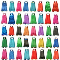 Wholesale Black Halloween Capes - PLAIN COLOR 70*80cm 2layer satincostume Halloween Cosplay Superhero Capes kids capes