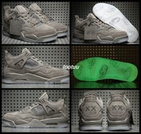 Wholesale Tennis Ball Rubber - Kaws x Cool Grey Glow In The Dark Mens Basketball Shoes 4 4s High Quality Limited Edition Trainers kaw 4 4s Basket Ball Shoes Sneakers