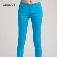 Wholesale Candy Colored Jeans - Wholesale- 18 Colors Jeans 2017 New Sexy Women Pants Spring Summer Fashion Pencil Pant Lady Skinny Long Candy Color Plus Size Trousers K104