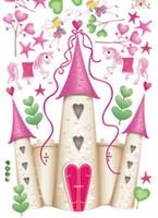 yatak odası dekor fotoğrafları toptan satış-Ev Partisi Çocuk Duvar Sticker Prenses Kale Çocuklar Çocuk Fotoğraf Kağıdı Ev Dekorasyon Sanat Odası Dekor Yatak Odası Koridor Duvar PVC