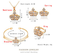 Wholesale golden crown diamond for sale - Group buy Luxury jewelry set beautiful European and American style unparalleled beauty crown type jewelry four sets of manufacturers