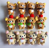 Wholesale Teddy Bear Doll Charm - Wholesale 12pcs Lot Rilakkuma Bear Stuffed Animal Doll 10cm Small Pendant Figure Doll Bag Pendant Charm TOY