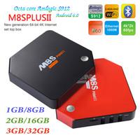 Wholesale Red 2g - 3G 32G M8S Plus II Amlogic S912 Android 7.1 TV Box 1G 8G 2G 16G Octa Core 2.4 5.8G Wifi BT4.0 4K H.265 1000M Lan Smart Set Top Box