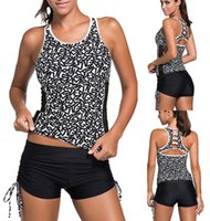 Wholesale spun polyester fabric - 2017 Fashion Letter Print Tankini Set Quick-dry fabric Swimwear Racerback Back Cutout Removable Padded Plus size Sports Wear