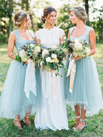 Wholesale Teal Elegant Dresses - 2018 Elegant A Line High Low Tulle Teal Bridesmaid Dresses Square Neck Country Style Cheap Bridesmaid Dress Prom Party Gowns
