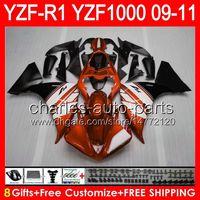 Wholesale yamaha yzf r1 fairings resale online - 8gifts Body For YAMAHA YZFR1 YZF R1 gloss orange NO56 YZF YZF R YZF1000 YZF R1 orange black Fairing