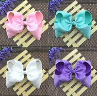 Wholesale Hair Bows Claw Clips - 7.5 cm Bowknot Solid color rivet Head Clip JOJO new style princess dance hairflower Girl headdress baby hairpin Hair ornaments L205