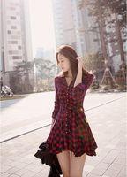 Wholesale London Chiffon Dress - 2017 Spring Fall Winter Dress Women Vintage England London Style Plaid Slim Bow Sash Long Sleeve Pleated Quality Cotton Red Shirt Dress D12