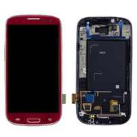 Wholesale Display S3 Red - 100% Guarantee LCD display for Samsung Galaxy S3 i9300 LCD + Digitizer Touch Screen Glass+Frame Assembly Red Color 4.8 inches