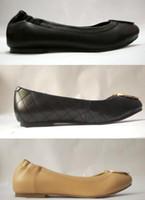 satılık sıcak kadınlar toptan satış-Sıcak satış Ünlü Marka Tasarımcısı Seyahat Balo Flats Metal Toka Bale Daireler Kadın Koyun Hakiki Deri Ayakkabı Sz 35-41