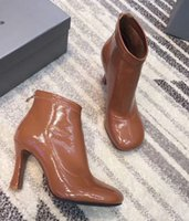Letu303 Brown Fashion Punk Style Lady Pumps Zip Square Toe High Heel couro genuíno Western Tcheca Botas Sapatos Mulher Sz 35-39