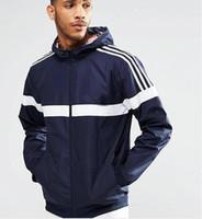 Wholesale New Sportwear Women Clothing - New men women white stripe harajuku windbreaker jackets on both sides coats hooded breathable addas jacket sportwear for mens clothing