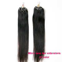 Wholesale tips for black hair online - Loop Micro Ring Beads Tipped Remy Human Hair Extensions s g s Jet Black for Women s Beauty Hairsalon in Fashion