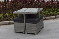 Wholesale Pe Wicker Rattan Furniture - Garden furniture outdoor tables and chairs ensemble wicker outdoor Children 5pcs sets one set one carton