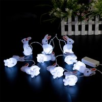Atacado- 1.65m 10Leds New Lovely Rabbit String Light Fairy Luminárias de Cordas LED para Quarto / Mesa / Holiday / Home Decorações AA Battery Powered